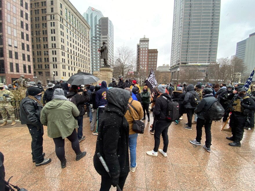 Protesters gather at the Ohio Statehouse.