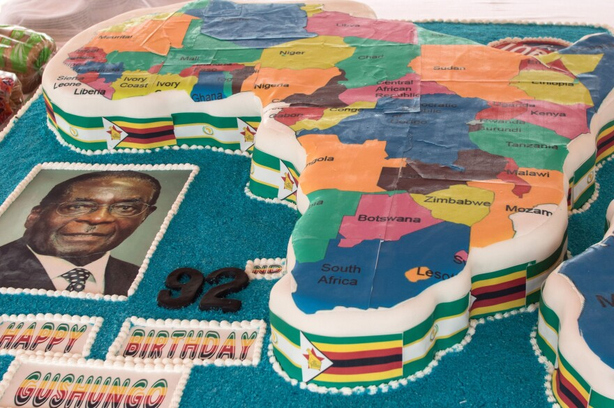 A birthday cake in the shape of the map of Africa was part of Mugabe's birthday celebration in Masvingo.