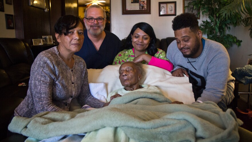 Bobo with her mother and home health nurse Dave Wilson; her son David's fiancee, Angel; and David.