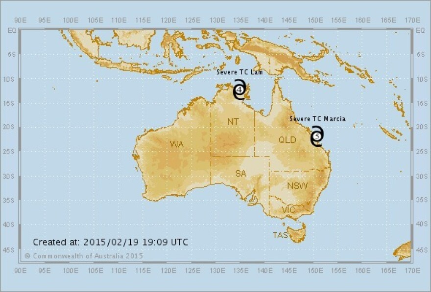 A map showing where Cyclones Lam and Marcia are located.