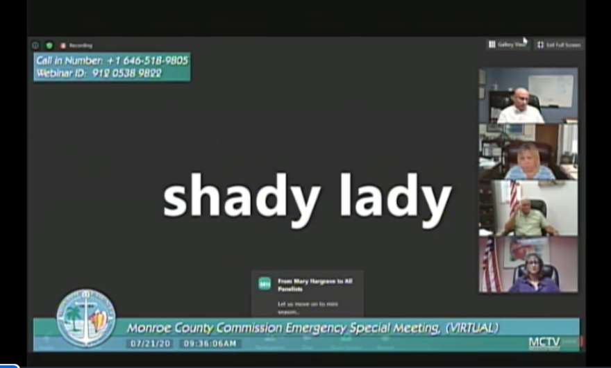A zoom screen from a Monroe County Commission meeting shows a public commenter using the handle Shady Lady.