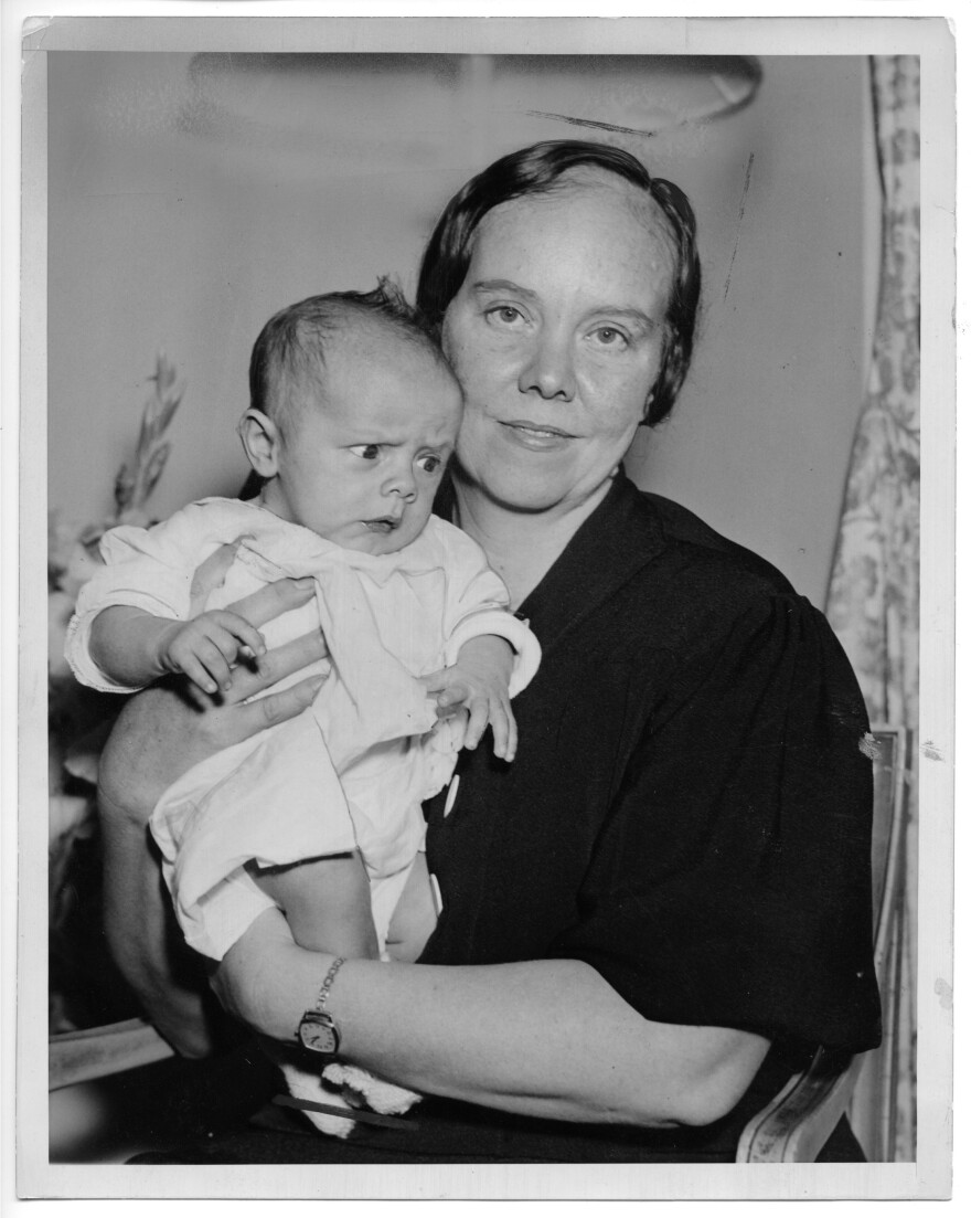 Eisele is shown here with her son (and the author's father) Albert Jr. in 1936. Eisele found out she had won the <em>County Home</em> contest the same day she gave birth to Albert, her sixth child.