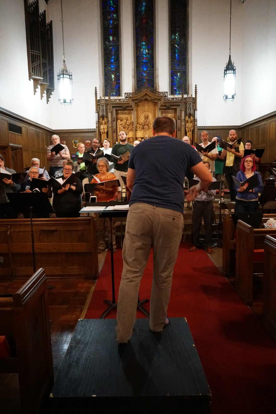 Robert Stumpf leads Black Tulip Chorale in a rehearsal for its Nov. 16 performance.  [10/31/19]
