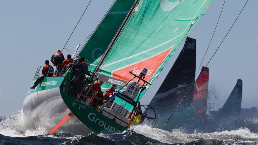 """The Groupama Sailing Team (shown here on Dec. 10 near Cape Town, South Africa) is somewhere out ahead in the """"stealth zone."""""""
