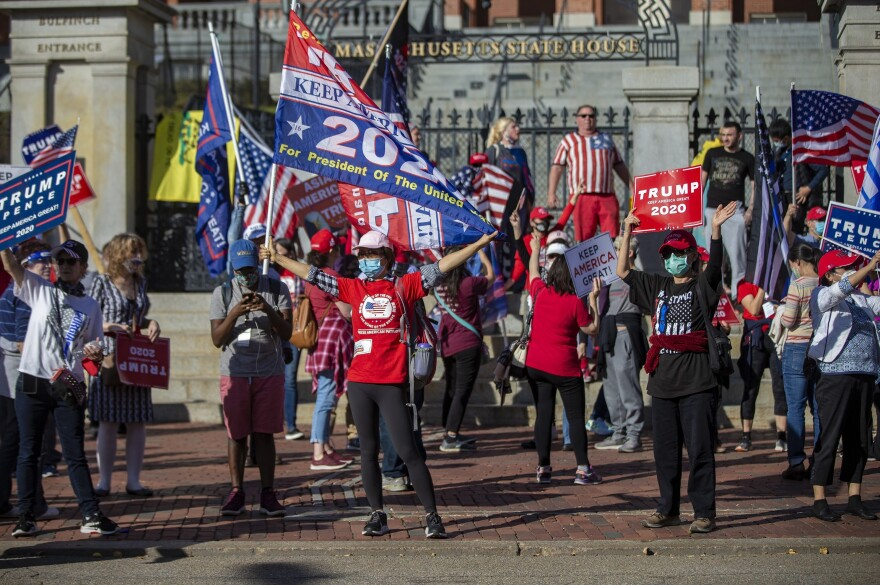<strong>BOSTON</strong>: Trump supporters rally in front of the Massachusetts State House after the announcement that Joe Biden has won the presidential election.