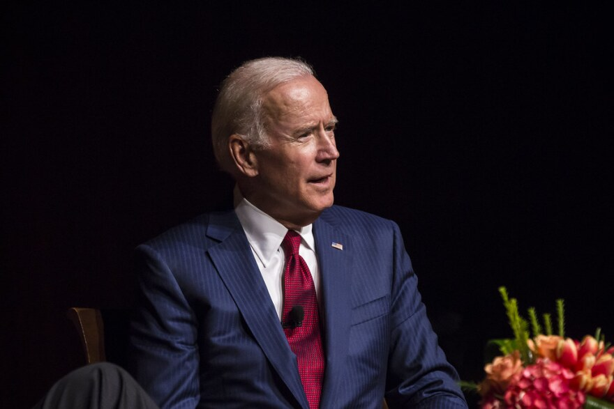 Joe Biden speaking at the LBJ Library at the University of Texas at Austin in 2017.