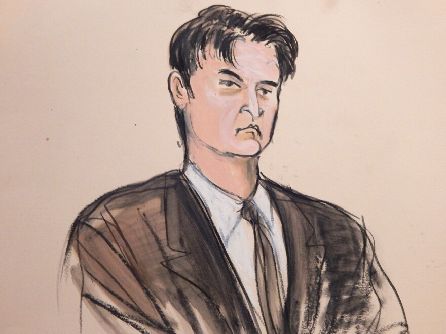 This Feb. 4 courtroom sketch shows Ross Ulbricht as he was found guilty in New York. Ulbricht was sentenced to prison on Friday.