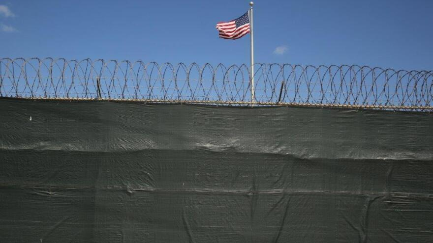 A flag waves inside Camp 6 at the Guantanamo Bay prison in Cuba last February.