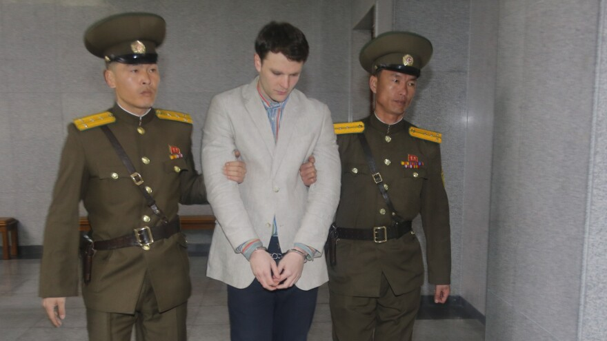 American student Otto Warmbier, seen here arriving for his trial in Pyongyang last March, has been freed, Secretary of State Rex Tillerson says.