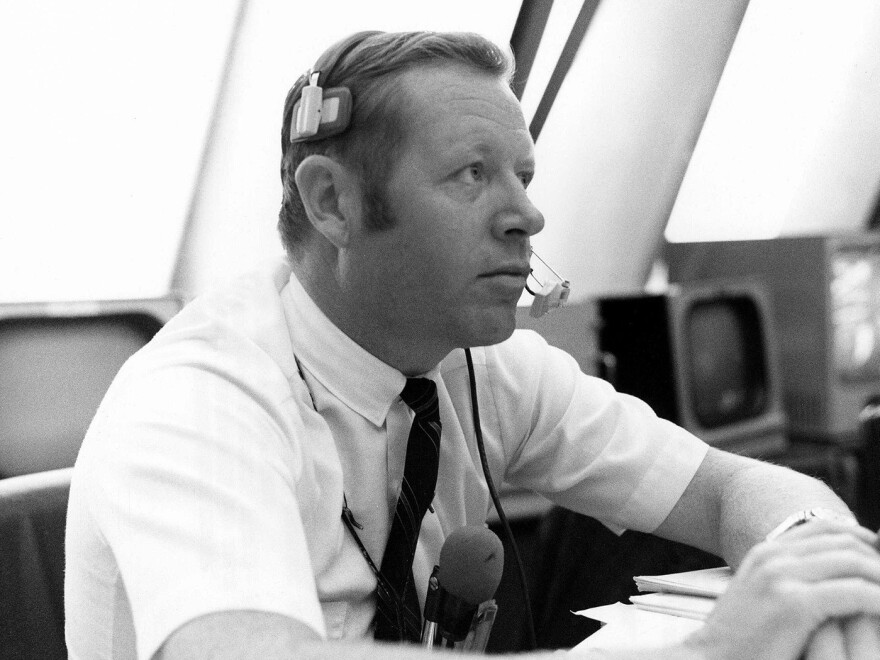 "A Nov. 14, 1969, photo made available by NASA shows Jack King in the Firing Room of the Kennedy Space Center's Launch Control Center in Cape Canaveral, Fla., during the countdown for Apollo 12. King, who died Thursday, became known as NASA's ""Voice of Apollo."""