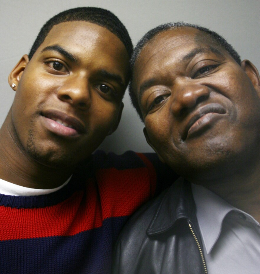 Adrian Hawkins (left) with his foster father, Horace Atwater Jr., at a visit to StoryCorps in Atlanta. Horace took in Adrian when he was 14 years old.