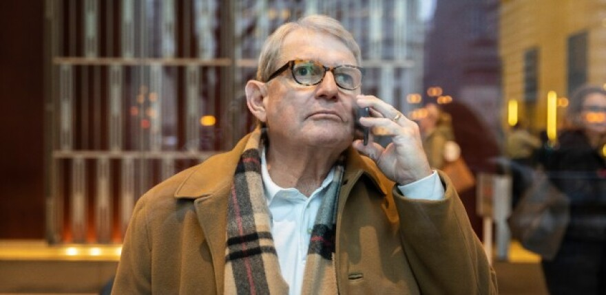 Michael McClain, a powerful former Springfield lobbyist and close friend of House Speaker Michael Madigan, talks on his cellphone at 300 N. LaSalle St. on Thursday, Jan. 9, 2020