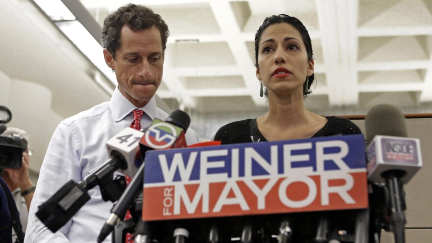 Anthony Weiner (left) and Huma Abedin at a news conference in 2013 during Weiner's mayoral campaign.