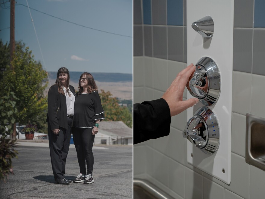 Left: Dr. Julie Rickard and her mother, Sheri Adler. Right: Rickard shows suicide-safe features at an American Behavioral Health Systems facility in Wenatchee, Wash., on July 23.