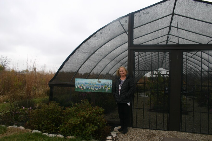 Cedar Springs Pavilion Owner Lisa Brannon stands in front of the butterfly house on her property on a chilly day in late October. Trump campaign surrogate Eric Trump spoke at the pavilion later that day.