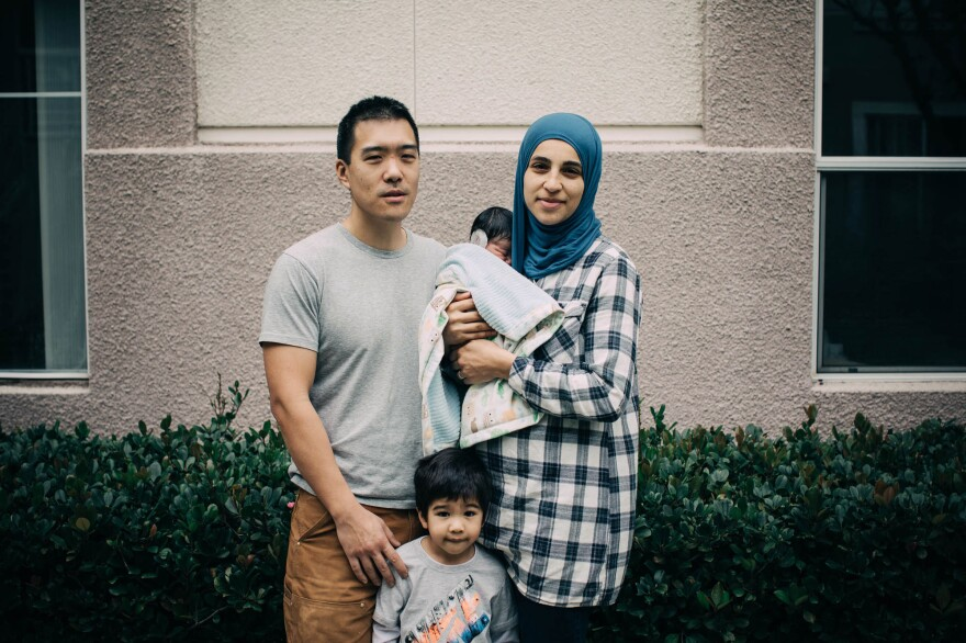 Shabaik with her husband Andrew Li, 2-year-old Elias and newborn Ali.