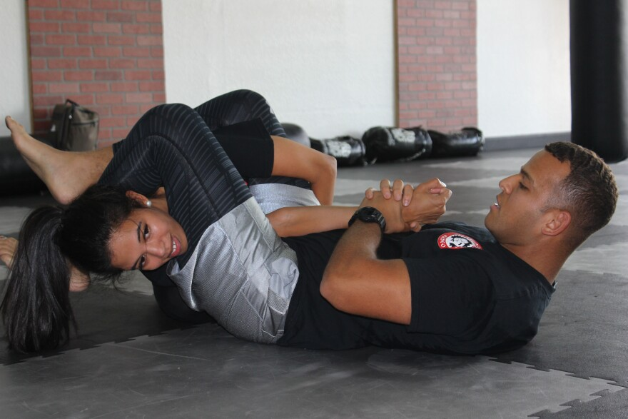 Jiu-Jitsu instructor Steven Vasquez teaches during free self-defense classes in West Palm Beach's Oskarate USA Martial Arts Studio on Saturday, June 30, 2018.  The classes are under nonprofit End Rape Culture, founded by Yessenia Urena.