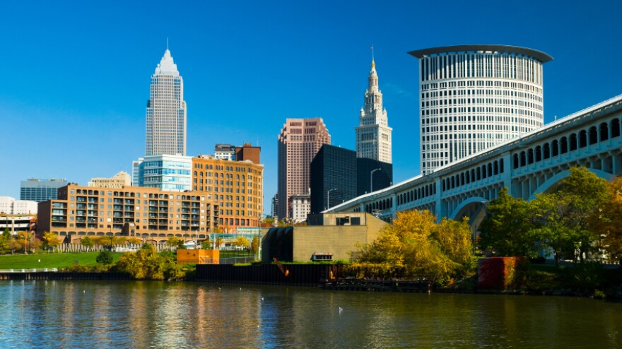 The downtown Cleveland skyline on a clear day. The city was selected Tuesday as the recommended location of the Republican National Convention in 2016.