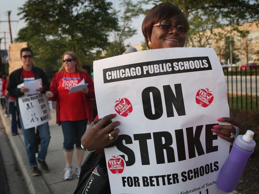 Striking Chicago public school teachers outside of George Westinghouse College Prep high school earlier today.