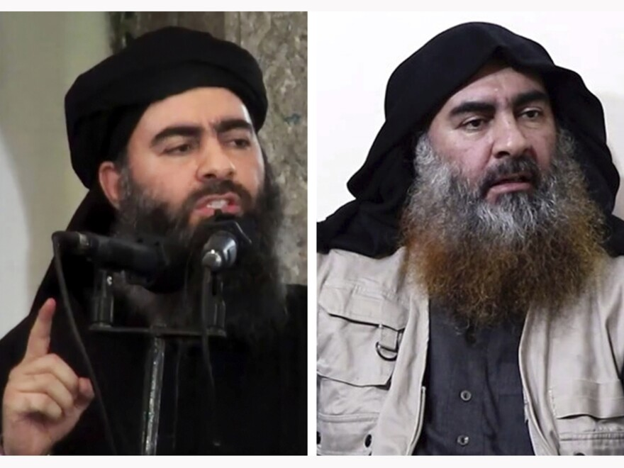 Islamic State leader Abu Bakr al-Baghdadi in his first public appearance in Mosul, Iraq, in July 2014 (left) and in a video released Monday that purported to show him speaking to supporters.