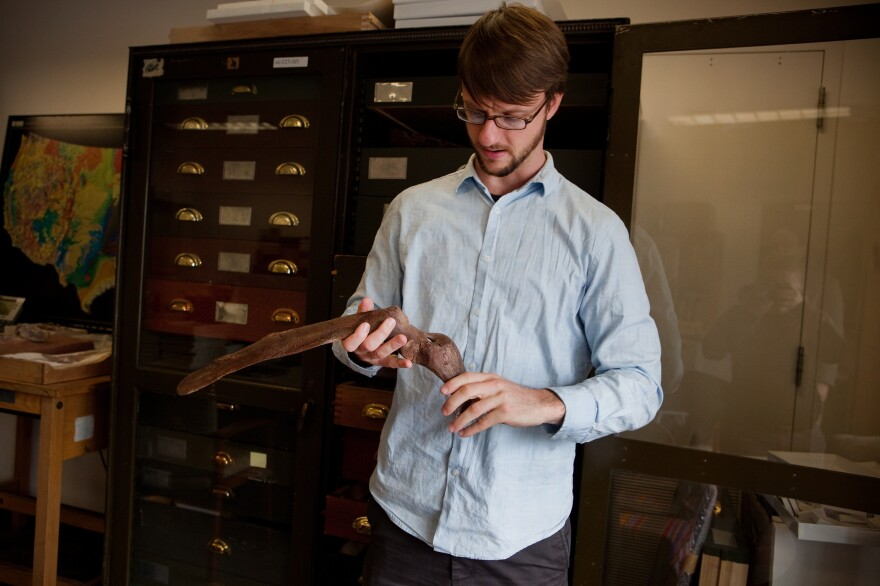 Tyler Lyson holds the scapula of the <em>Anzu wyliei</em>. Lyson was in high school in 1999 when he discovered the bones from one specimen on his uncle's ranch outside of Marmarth, N.D.