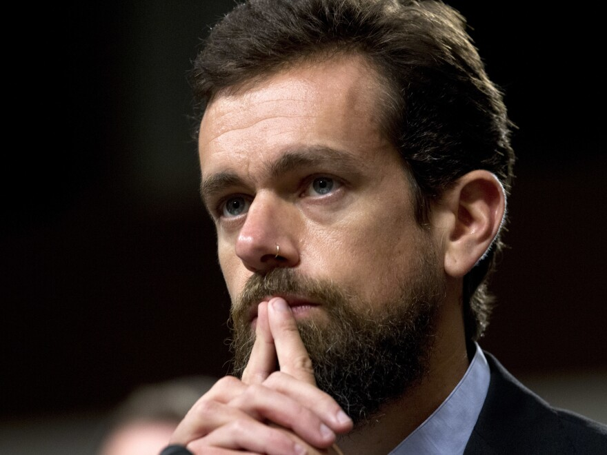 Twitter CEO Jack Dorsey testifies before the Senate Intelligence Committee hearing on 'Foreign Influence Operations and Their Use of Social Media Platforms' on Capitol Hill, Wednesday, Sept. 5, 2018, in Washington.