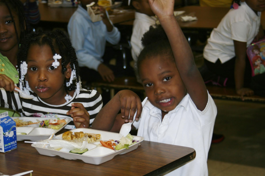 Salad is available to students at Hickey Elementary School.