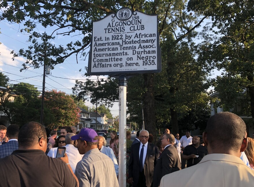 Many business, civic leaders and tennis enthusiasts attended the unveiling of the Algonquin Tennis Club, NC Historical Highway Marker in Durham, on Aug. 15, 2019.