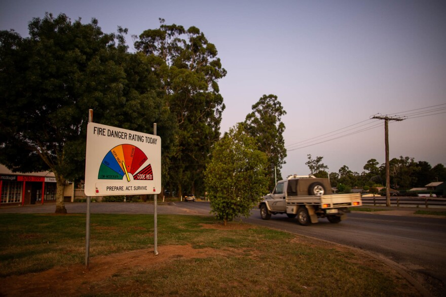 The risk of bushfire in Kinglake is high for months each year. Signs around town are adjusted frequently by local firefighters to alert residents of the current bushfire risk.