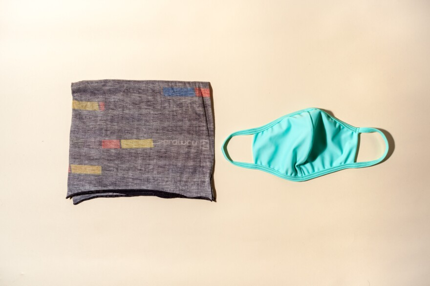 A neck gaiter and a cloth mask