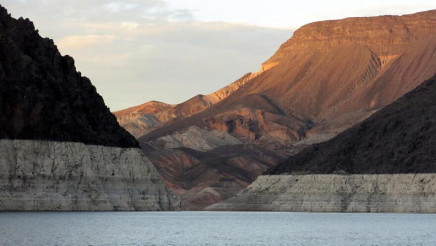"Lake Mead, which is created by the Hoover Dam on the Colorado River, has an exposed ""bathtub ring"" showing prior water levels."