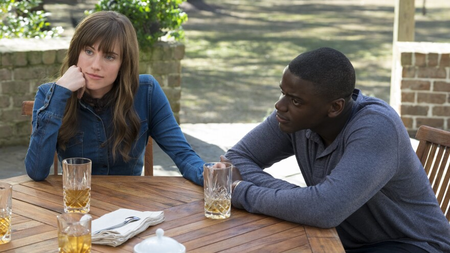 """Allison Williams and Daniel Kaluuya star in Jordan Peele's <em>Get Out</em>.<strong><a href=""""http://www.npr.org/2017/02/23/516869364/get-out-offers-sharp-satire-along-with-the-scares"""" target=""""_blank""""> Click here</a></strong> for a review."""