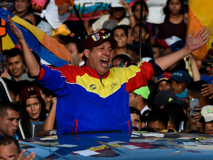 Venezuelan opposition presidential candidate Henri Falcón at the closing rally of his campaign ahead of the Sunday's election, in Barquisimeto, Lara state, Venezuela on Thursday.