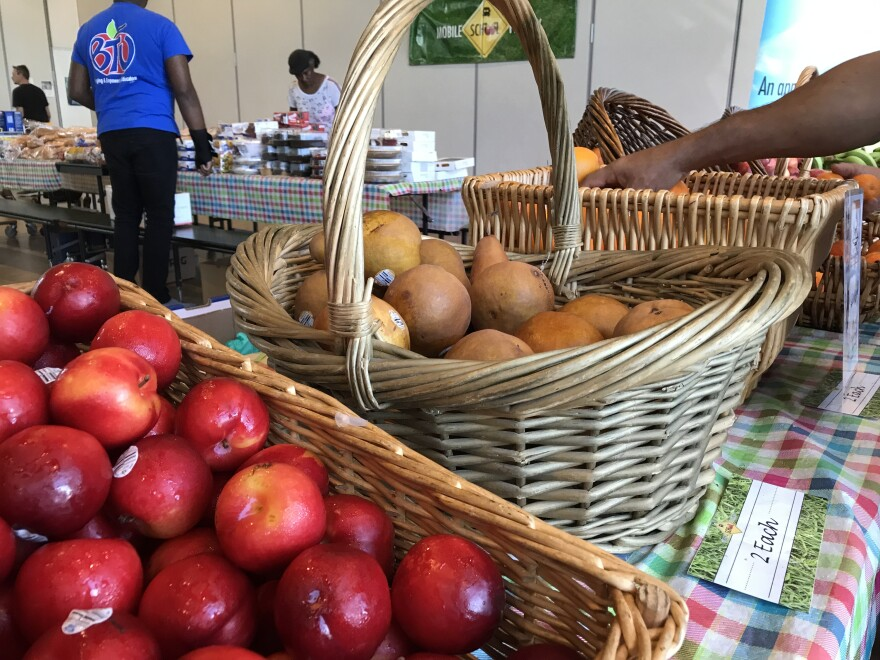 Apples, pears, oranges, scotch bonnet peppers, and watermelon made up some of the produce from Pompano Beach that was handed out to families at Dr. Martin Luther King Jr. Montessori Academy in Lauderhill.