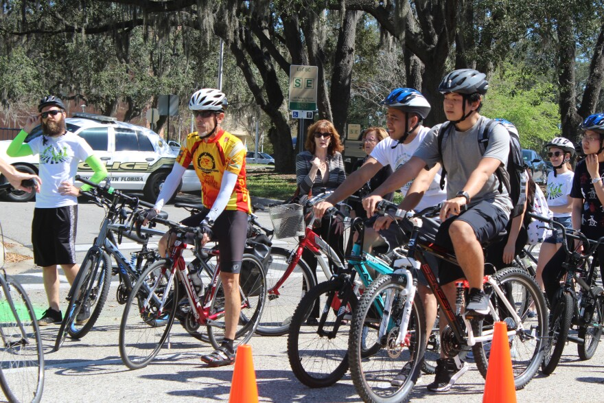Students riding bikes at USF's Transportation Day.