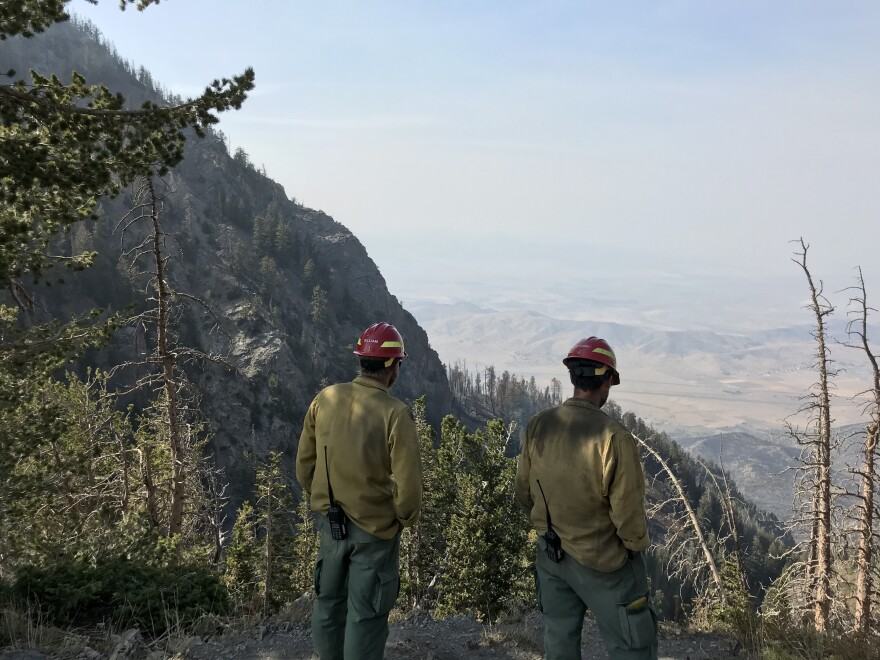 A photo of two firefighters in a mountain.