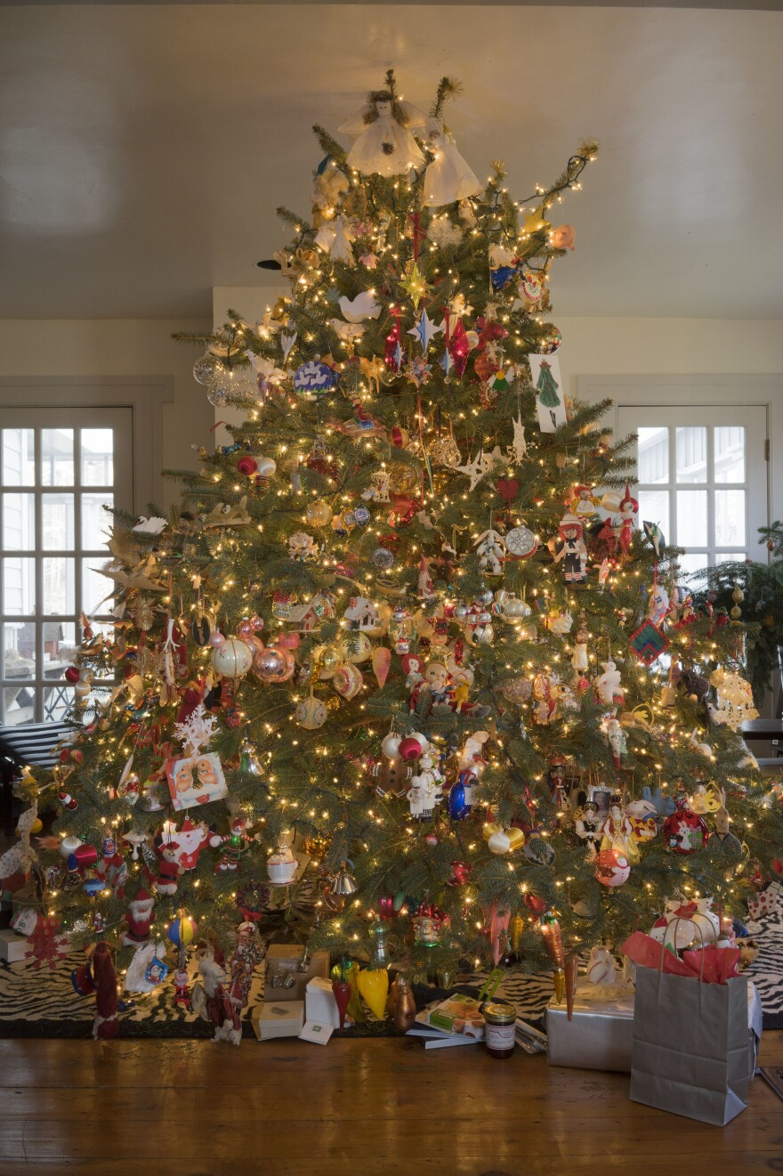 "In <em>Tree of Treasures</em>, Mackay tells her life story through Christmas ornaments. ""Each one of my treasured pieces represents a passage in my life,"" she writes."