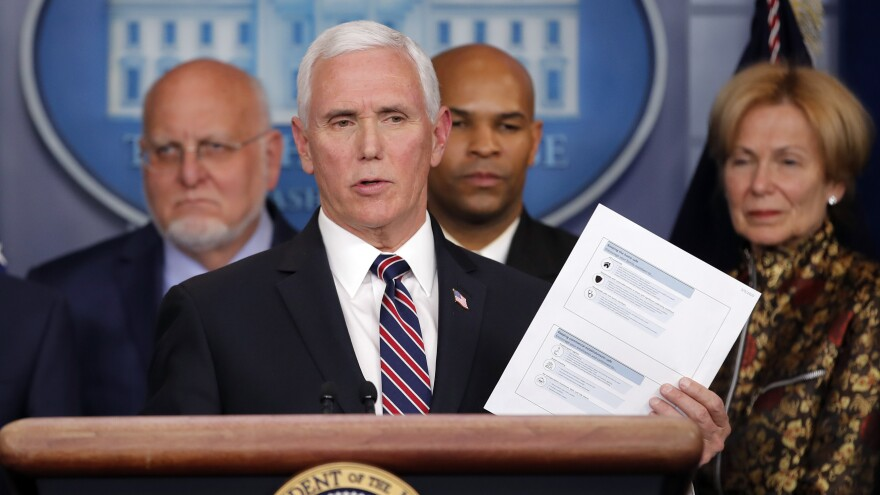 Vice President Pence speaks in the briefing room of the White House on March 9 about the coronavirus outbreak.