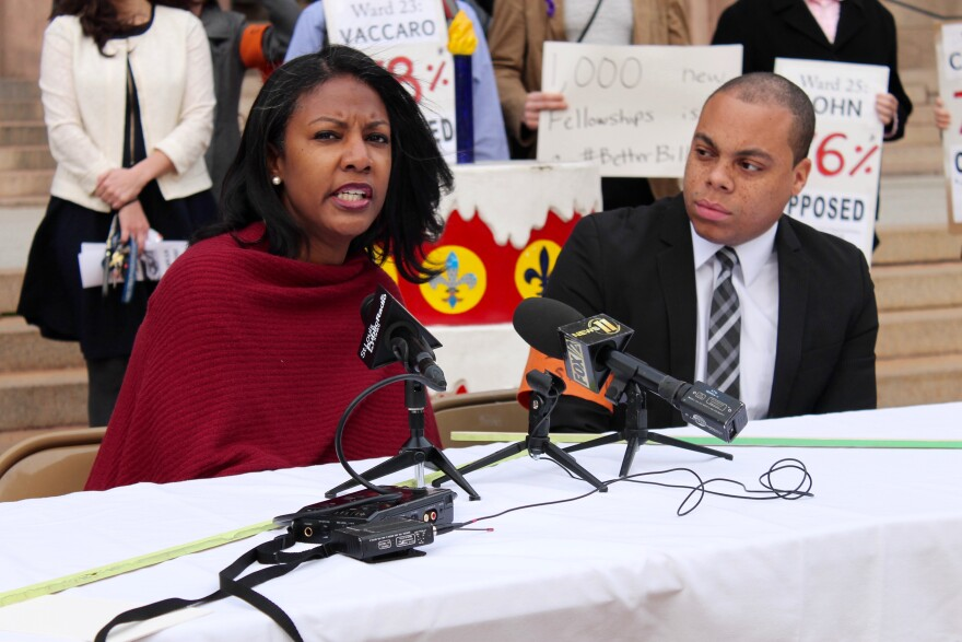 St. Louis Treasurer Tishaura Jones and state Rep. Michael Butler, D-St. Louis, held a press conference before the committee hearing expressing their opposition to the stadium proposal.