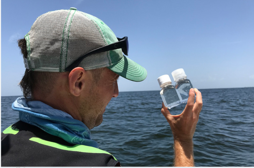 Comparing water samples. FWC's harmful algal bloom continues red tide event response monitoring of the Gulf, 30 miles offshore of southwest Florida.