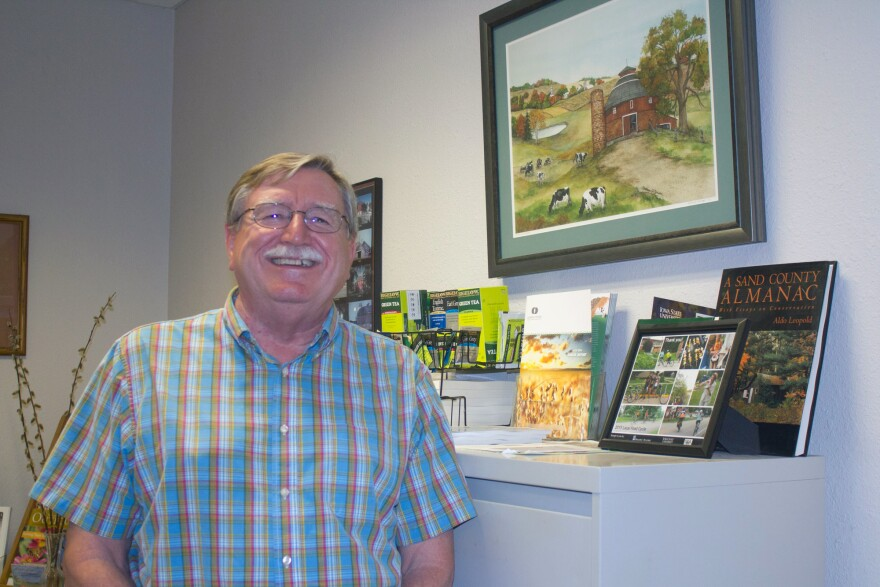 Director of the Leopold Center for Sustainable Agriculture Mark Rasmussen in his office at Iowa State University