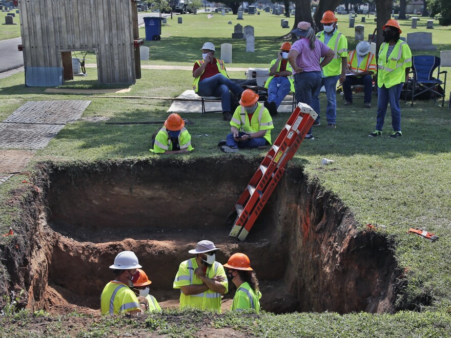 A second excavation is planned in Tulsa, Okla., this week to unearth potential unmarked mass graves from a race massacre in 1921. In July,  researchers began excavation at Oaklawn Cemetery, shown here. They found no evidence of human remains at that particular excavation site.