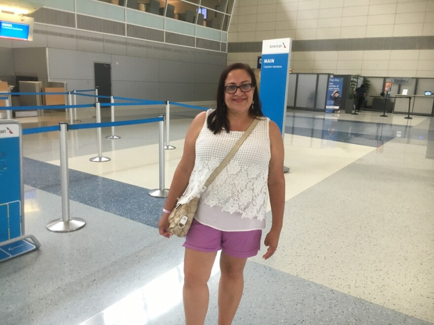 Frances Jorge flew here a few days ago on a nearly empty jet to help her daughter who just got laid off. Now she's trying to get home to Tampa but flights keep getting canceled.