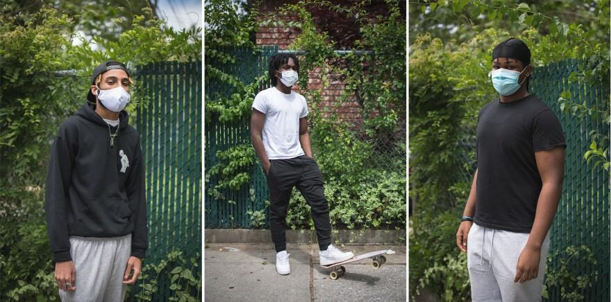 <strong>From left:</strong> Ieszan McKinney, 18; Joshua Bovell, 18; Kamari Murdock, 18, in Brooklyn, N.Y.