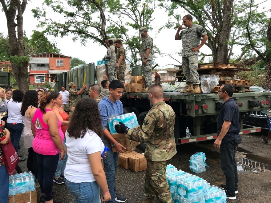 Army Reserve troops have been distributing water and other supplies in Morovis since Hurricane Maria struck more than six weeks ago.