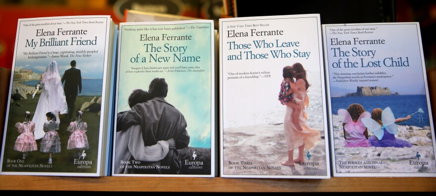 Elena Ferrante books are photographed at the Harvard Book Store in Cambridge, Mass., on April 8, 2016.