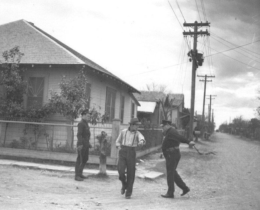 Pecan shellers strike hit by police club; published Feb. 10, 1938