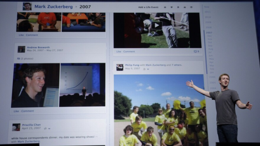 Facebook CEO Mark Zuckerberg shows Timeline during the f/8 conference in San Francisco, on Thursday. The changes to Facebook continue, but some people are unhappy with the recent tweaks.