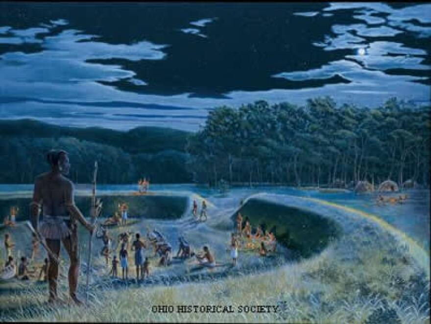 A sketch of Adena, or Early Woodland, Native Americans with a ceremonial mound.
