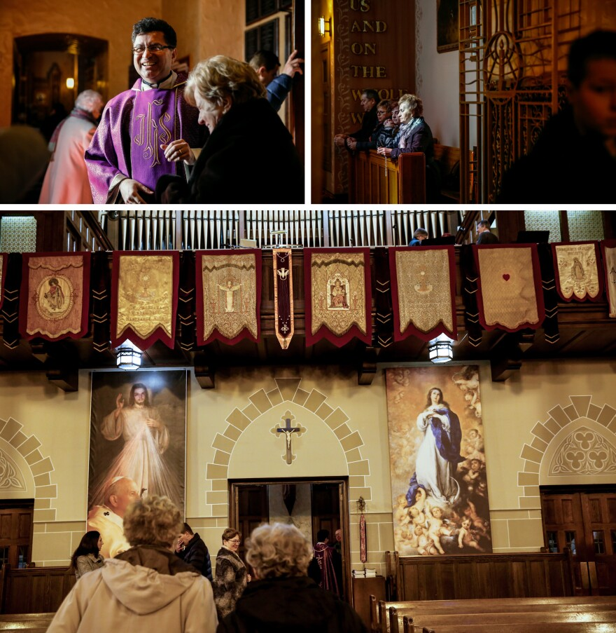 Father Miroslaw Frankowski (top left) greets parishioners at St. Florian Roman Catholic Church before Sunday Mass services (top right and bottom).